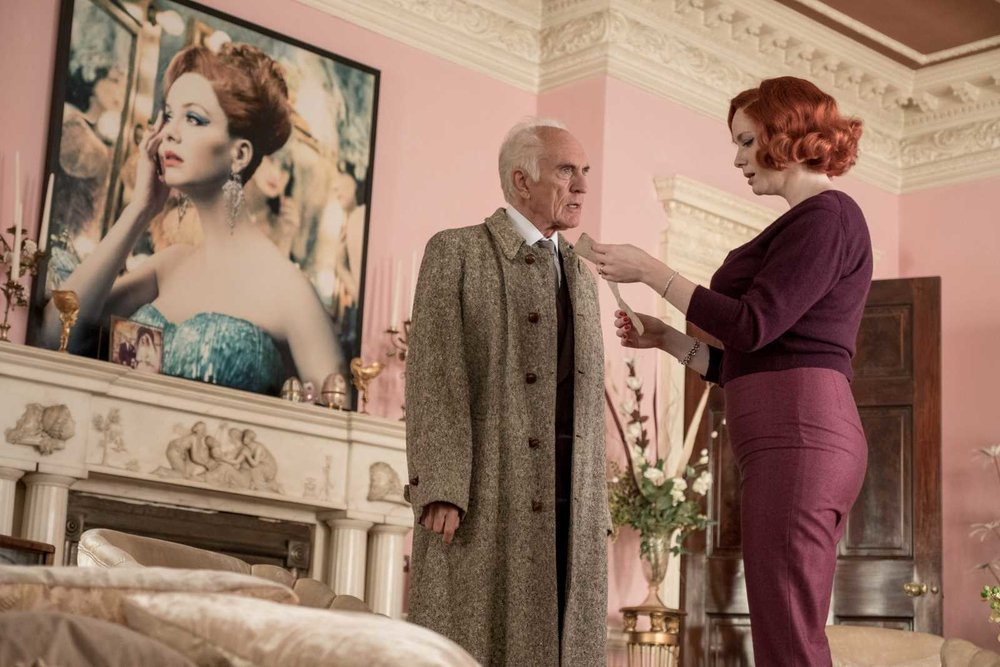 Terence Stamp and Christina Hendricks in Brenda's Drawing Room set.