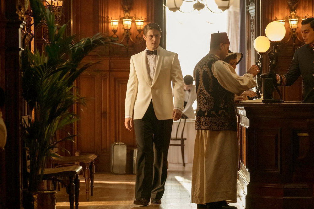 Max Irons in Egyptian Hotel Lobby set.