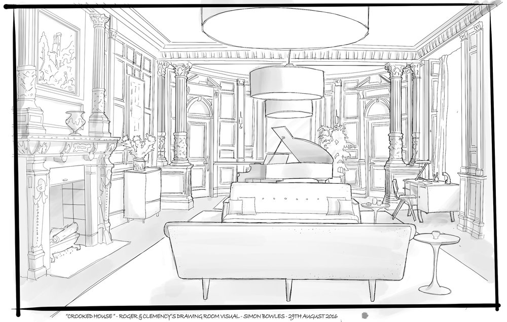 Visual of Roger & Clemency's Drawing Room by Simon Bowles.