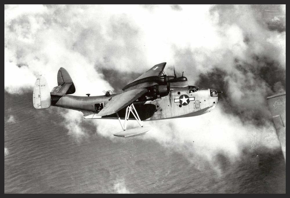 Patrol Boat Martin (PBM) Mariner Seaplane by the Glenn L. Martin Aircraft Company, United States Navy, World War II. Photo taken at the Marianas Islands during the Pacific Theater/Campaign July 1944. The PBM Mariner was the successor to the PBY Catalina during WWII.