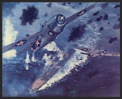 In this print two F4Fs from the Yorktown's VF-42 rise up out of the flak from the damaged but fighting Japanese carrier Shokaku during the Battle of the Coral Sea. The F4Fs protected the Dauntless dive bombers who planted 3 bombs into the Shokaku, which resulted in it missing the Battle of Midway a mere month later.