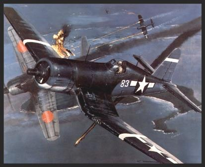 The Corsairs were mainly used by the U.S. Marines, who usually flew them from island bases, rather than from carriers. This is because the Corsair was initially thought to be unsuitable for carrier use due to visibility problems with the long nose during landing. In late 1944 this was proved to be untrue, and some Corsairs found themselves temporarily operating off of Navy carriers as additional fighter resources. This print portrays Marine Corsairs of VMF-124 (temporarily stationed on the  USS Essex ) as they break up a Japanese kamikaze attack over the Phillipines in late 1944.