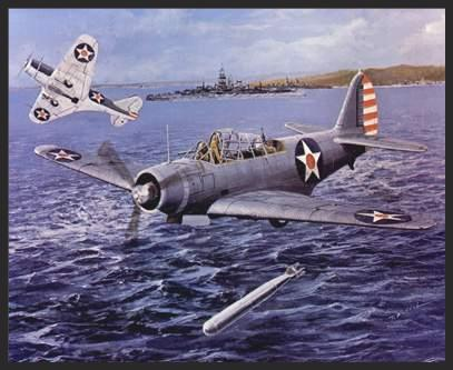 In this print, TBD Devastators of USS Yorktown's VT-5 engage Japanese ships in the Battle of Tulagi, a minor prelude to the Battle of the Coral Sea in May of 1942. In two separate attacks the TBDs launched a total of 22 torpedoes in Tulagi harbor, but their only success was the sinking of the minesweeper Tama Maru. This was probably due to the poor quality of the aerial torpedoes, and the inexperience of the American flight crews.