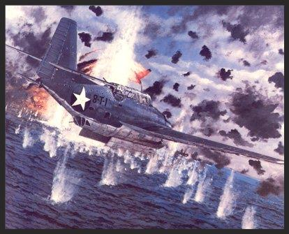 The Avenger was first used in combat in June of 1942 at the Battle of Midway. Only six examples were available at that time, and they arrived too late to be put aboard the U.S. carriers enroute to the battle. These six were deployed from the airbase on Midway Island, and the pilots of Torpedo Squadron 8 were the first to sight and attack the Japanese fleet. The heroism of VT-8 is reflected here as we see Lieutenant A.K. Bert Earnest piloting Avenger 8-T-1 through withering fire as he hurtles toward his target, the Japanese carrier  Akagi  on June 4, 1942. All of the other Avengers were lost, with 8-T-1 being the sole survivor of the group. This plane was badly shot up with the radio operator dead and the bombardier wounded, barely making it back to base.