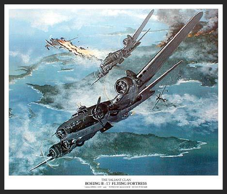 "Most B-17 paintings show them in combat over Hitler's Europe, but Flying Fortresses played a role in the Pacific too. Here we see two B-17Es of the 13th Air Force, 98th Squadron, ""Galloping Gus"" and ""Typhoon McGoon II"" hooking it home after a bombing mission against Japanese positions in New Guinea.   Nakajima Rufe floatplanes rise to engage them, but prove to be no match for the Fortress gunners."