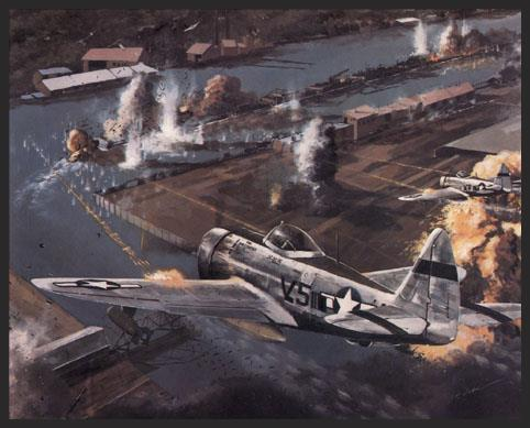 The barrel-shaped Republic P-47 was the biggest, heaviest single-seat fighter produced by America during the war. This rugged airplane was well suited for ground attack missions, as their large radial engines could withstand flak damage better than the inline engines of the Mustangs. This scene shows Thunderbolts of the 373rd Fighter Group of the 9th Air Force screaming down out of the sky to shoot up barges on the Rhine River, denying these much needed supplies to the enemy.