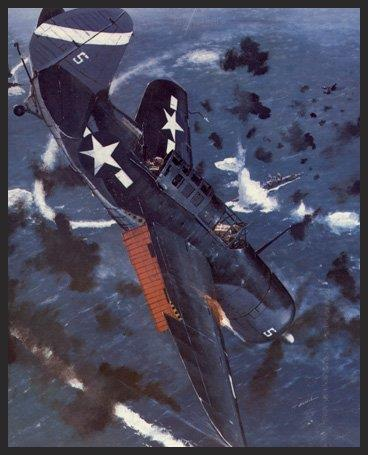 This painting shows a Helldiver pilot from the USS Hancock (part of Halsey's Third Fleet) on the day after the Battle of Leyte Gulf (October 26th, 1944), as he dives on one of the fleeing remnants from Admiral Ozawa's shattered fleet. Four Japanese carriers, a cruiser, and a number of destroyers were sunk during this battle.