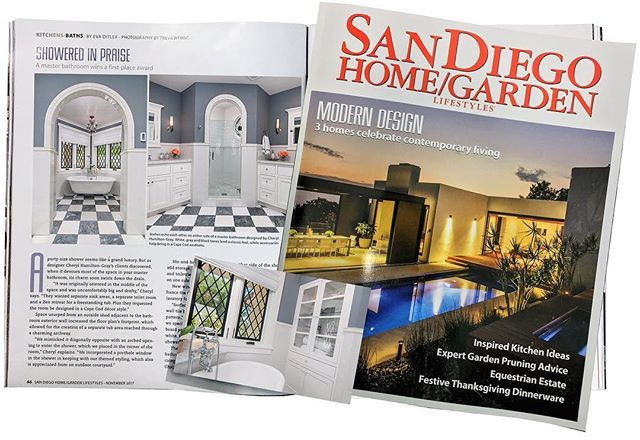 @SDHomeGarden Magazine recognizes Hamilton-Gray Design for winning local @NKBA_SD Large Bathroom Award 2017!