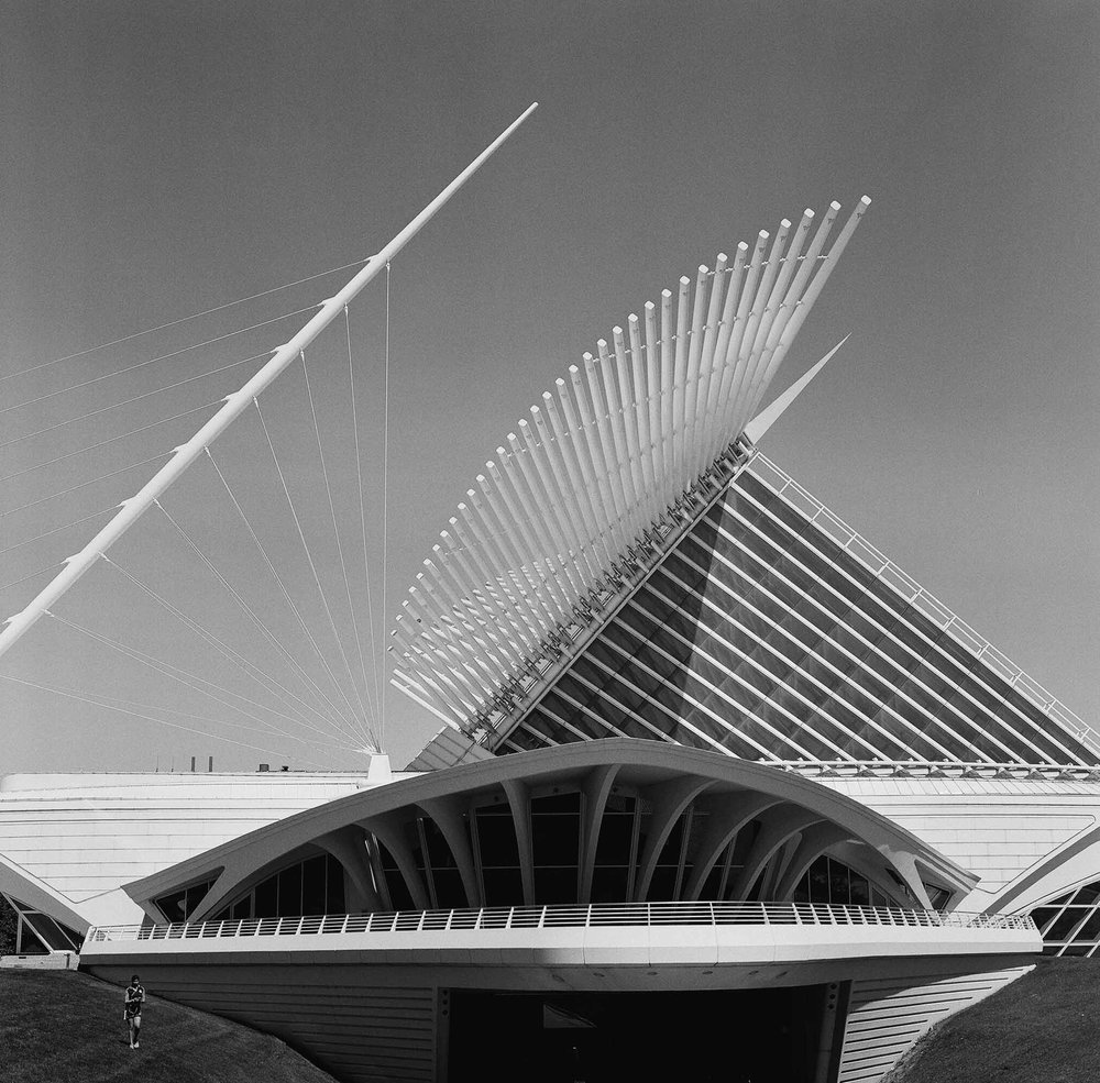 Day 92- August 31, 2016  Hasselblad 503CW Ilford Delta 3200  I drove to Milwaukee today from Chicago to go meet up with my second shooter, Kate, who is also a fellow Air Force wife. I wanted to check out the Milwaukee Art Museum and a specific spot near it where the bride and groom (of the wedding I'm shooting this weekend) want to do bridal party portraits. It was SO great getting to catch up with Kate especially because I haven't seen her in forever! It was a great afternoon spent in Milwaukee followed by a 2 hour drive back to Chicago. I then went to dinner with my sisters and my sister's husband at the most amazing pizza place in the city.
