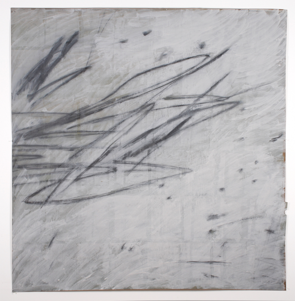 "Untitled 1,  2013  59"" x 57""   Unbleached paper, newsprint, ceiling white, graphite"