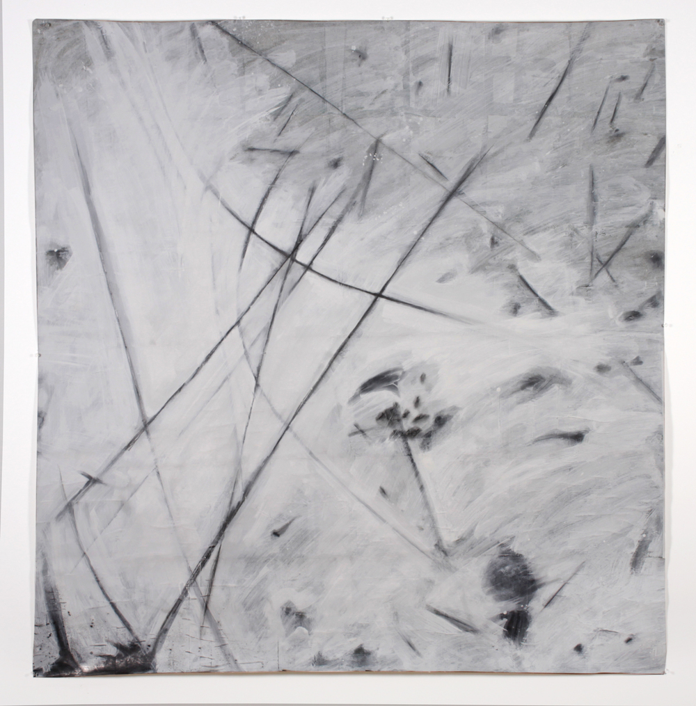 "Untitled 4,  2013  56"" x 54""   Canvas, newsprint, ceiling white, graphite"