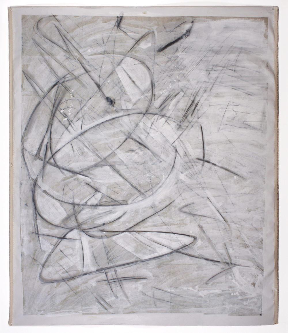 "Untitled 5,  2013  67"" x 55""  Canvas, newsprint, ceiling white, graphite"