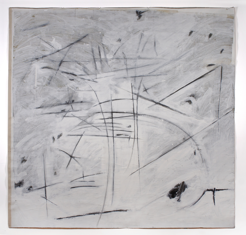 "Untitled 3,  2013  74"" x 76""  Canvas, newsprint, ceiling white, graphite"