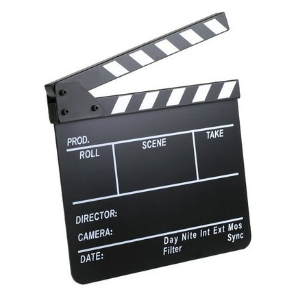A film slate, or clapperboard, designates and marks particular scenes and takes recorded during production.