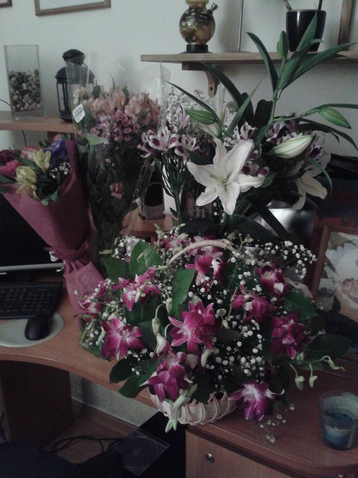 I got so many flowers in Moscow!