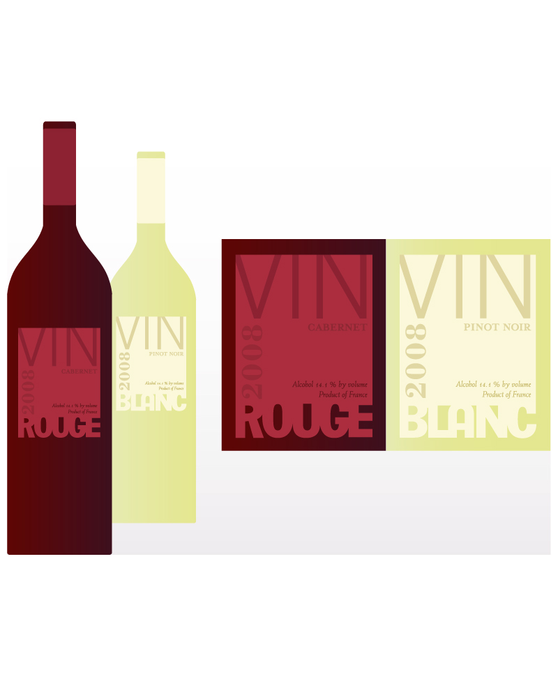 Rouge and Blanc Wine Labels