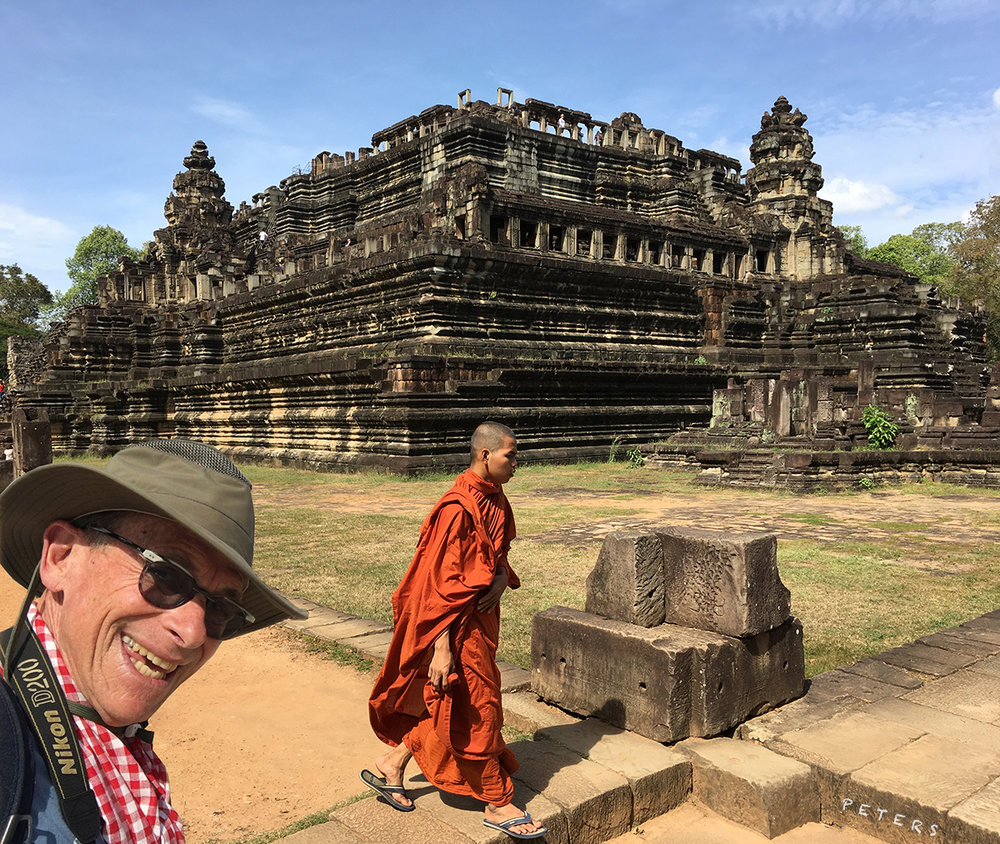 Photobombing my own picture of the Ba Phuon Temple outside of Siem Reap, Cambodia.