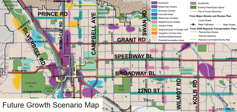 "Plan Tucson's ""Future Growth Scenario Map."" Click the image to see a full copy in draft form."