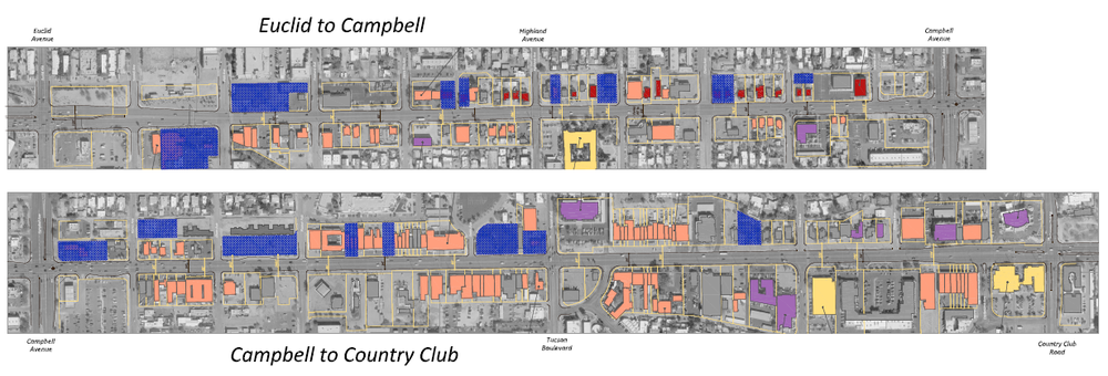 The City of Tucson owns all of the property along Broadway Boulevard shown here in blue.