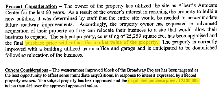 Compare the 2009 description (top) of the City's purchase with the 2005 description (bottom)