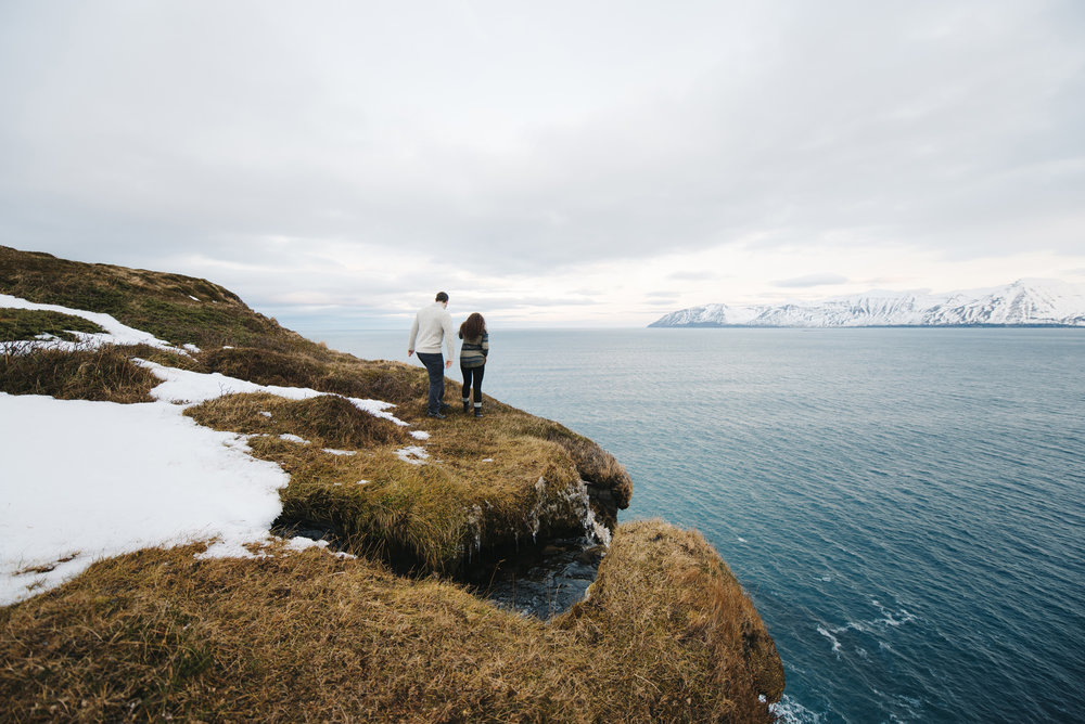 Exploring the Fjords in Northeastern Iceland during honeymoon photography by Iceland Elopement Photographer Colby and Jess colbyandjess.com