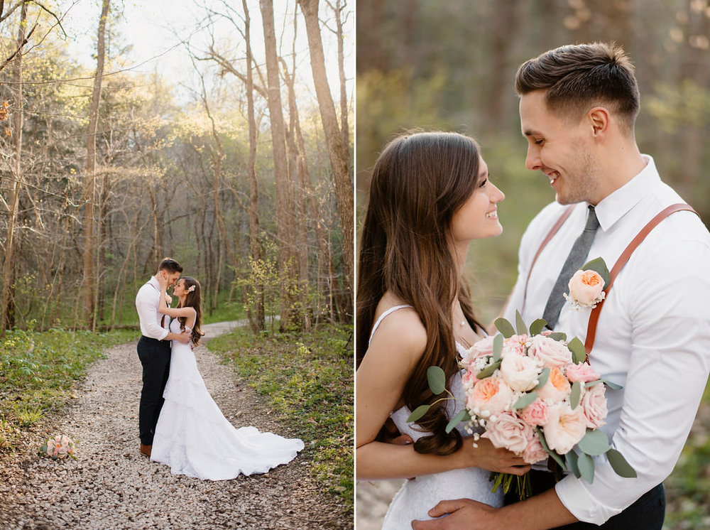 A bride and groom hold each other under the trees by the Buffalo River by Arkansas Adventure Destination Photographer Colby and Jess