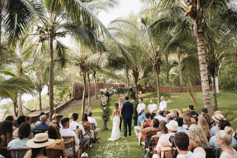 Wedding ceremony beside the beach in Sayulita Mexico photography by Puerto Vallarta wedding photographer Colby and Jess  colbyandjess.com