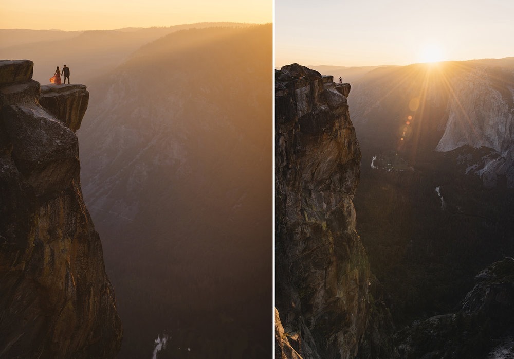 Bride and groom at Taft Point during sunset by Yosemite Elopement Photographer Colby and Jess colbyandjess.com