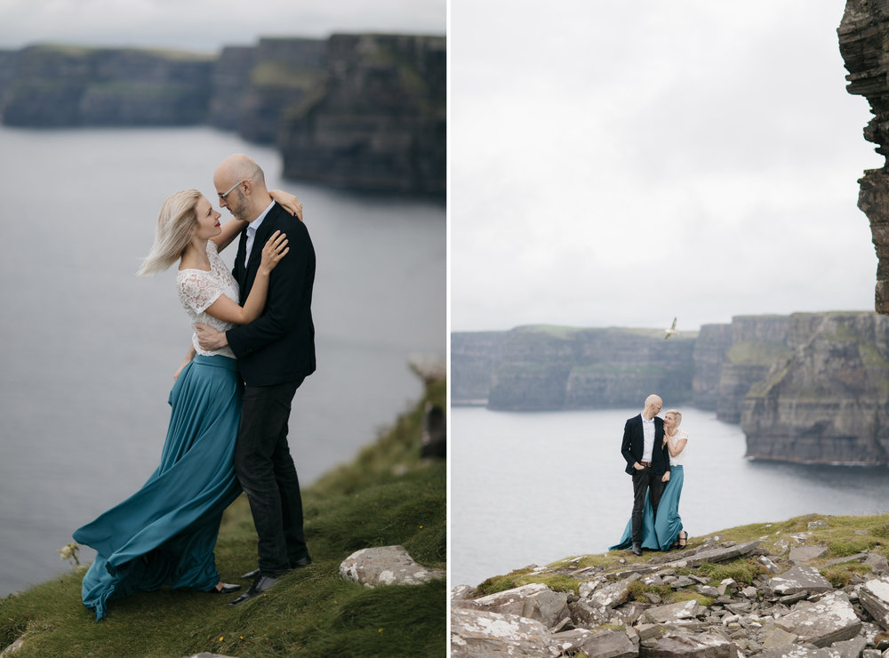 A lovely couple embraces at Cliffs of Moher for their Adventure Photography Session by Elopement Photographers Colby and Jess