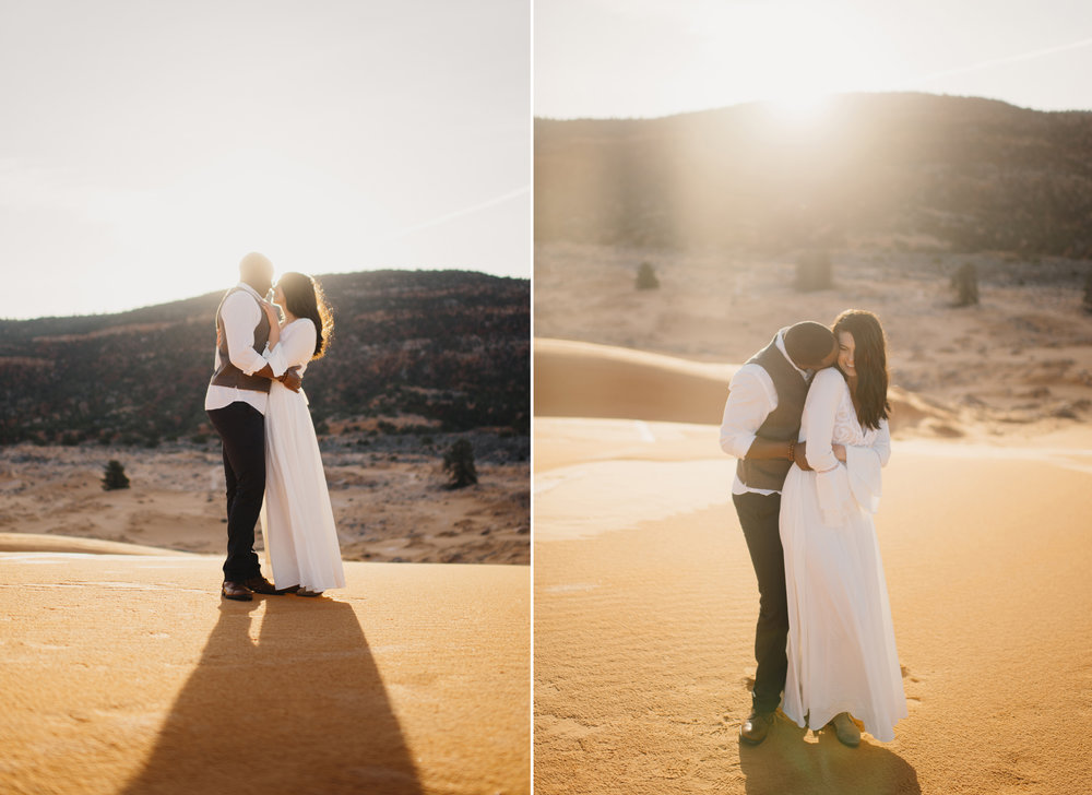 A couple snuggles during their adventure anniversary photography session with Utah Sand Dunes Destination Elopement Photographer Colby and Jess