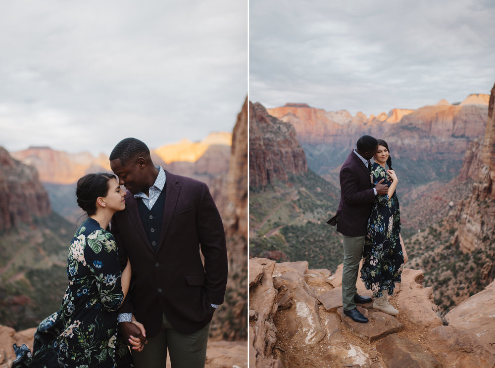 A man and woman embrace during their Angels Landing Engagement Photography Session with Zion National Park Elopement Photographer Colby and Jess