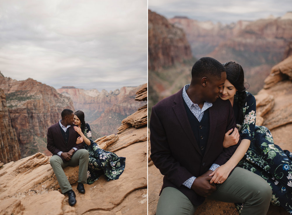 A couple in love cuddle during their Angels Landing Zion Engagement Photography Session by Zion National Park Elopement Photographer Colby and Jess