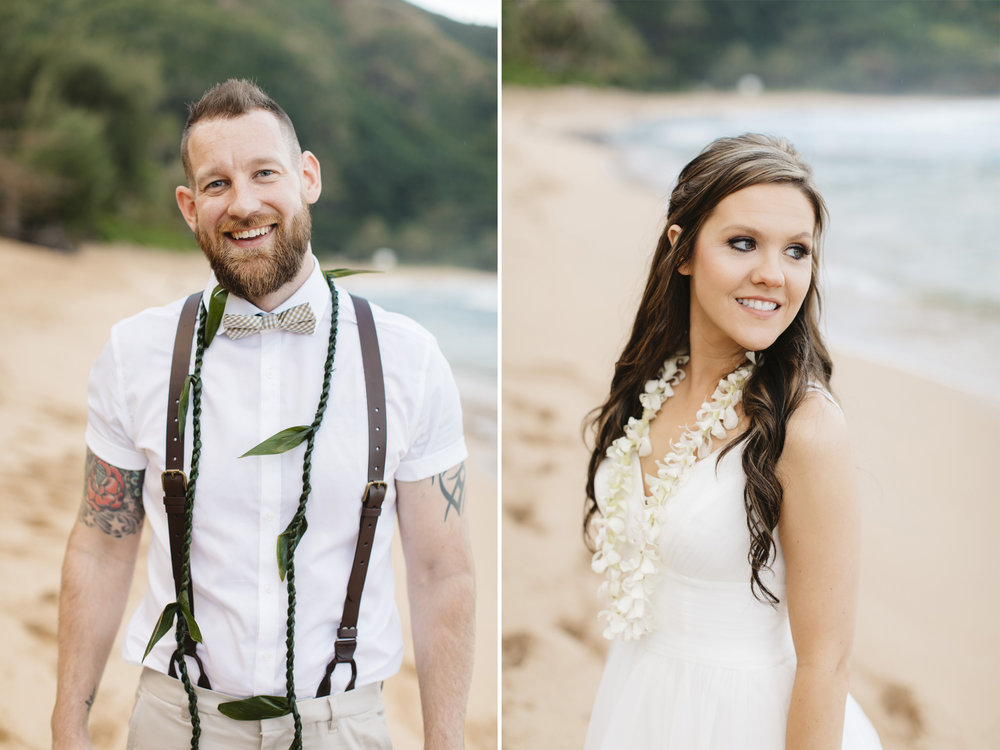 Portrait of a bride and groom after Tunnels beach wedding ceremony by Kauai Elopement photographers Colby and Jess