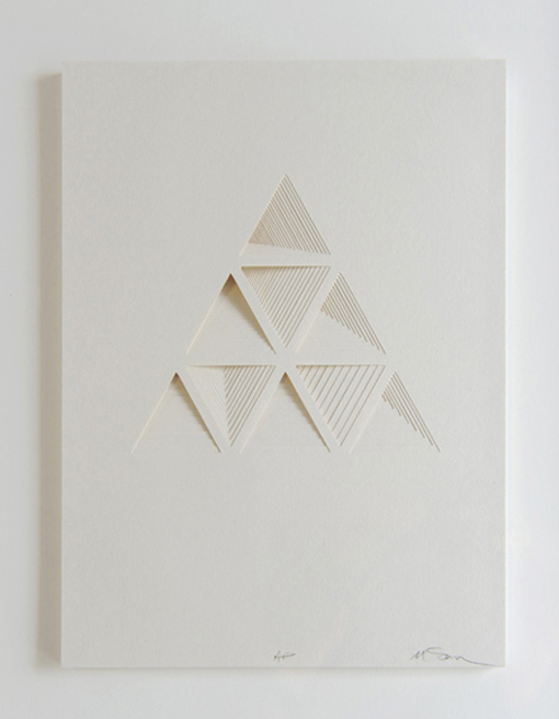 crematorie :     Ghostly Process Series: Triangels Extruded,  paper, 2010 by  Matt Shlian