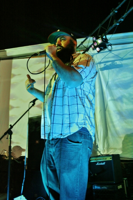 Miggs Son performing at the 'Son Of A Gun' album release party. Photo by Sinjin Hilaski