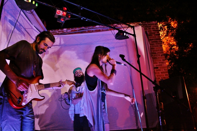 Omingnome and Miggs Son pair up for a song at the 'Son Of A Gun' album release party. Photo by Sinjin Hilaski