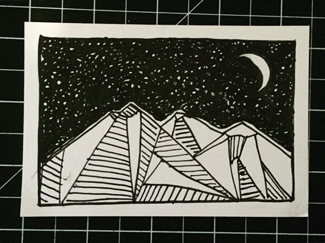 Tiny doodle . . . . . #penandink #ink #blackandwhite  #landscape #illustration #alexariddleart  #art #artist #drawing #graphicart  #nature #mountains #moon #micron #black  #alexariddle #stars #nightsky #prints  #sanfrancisco #art #artist