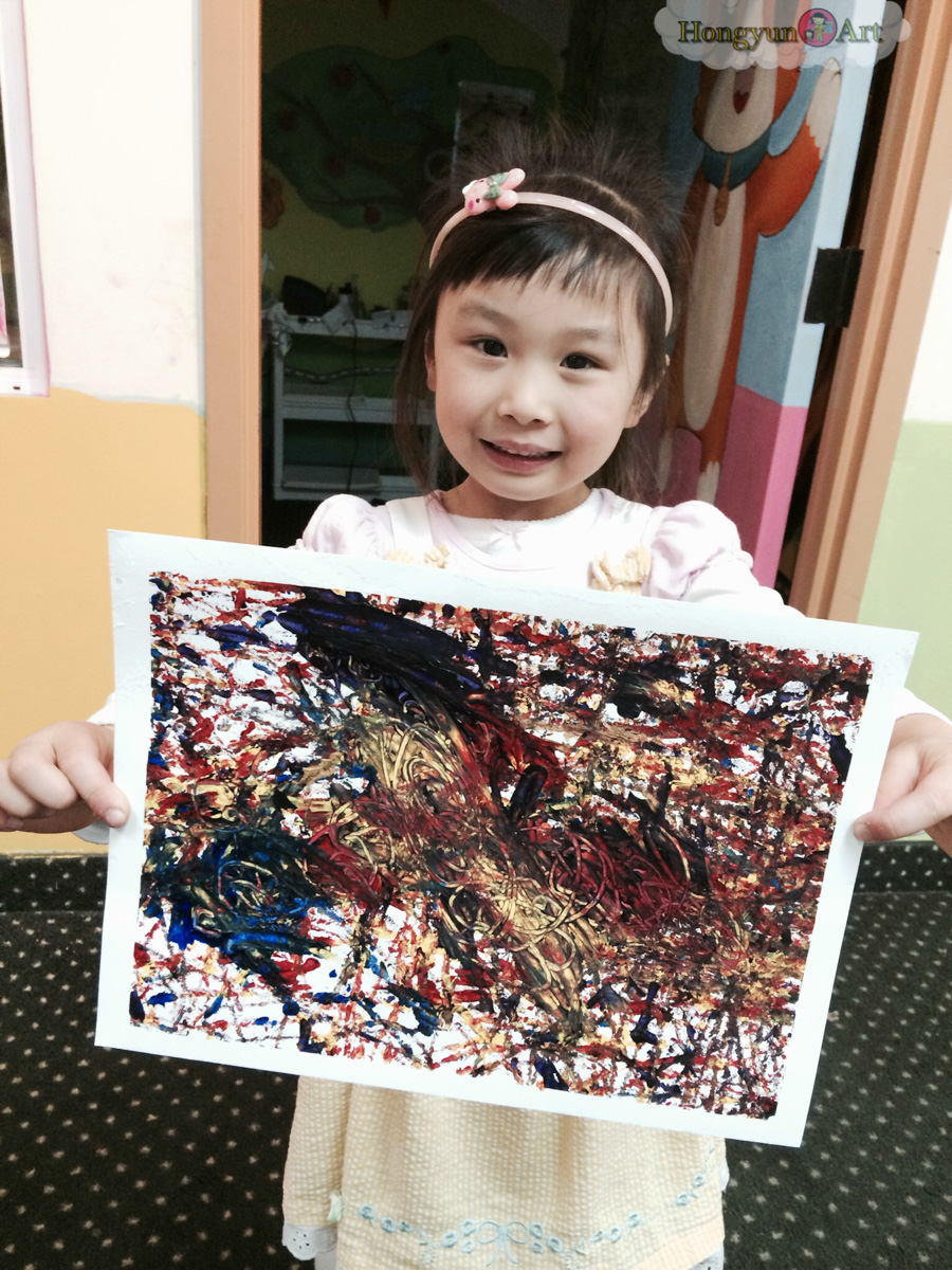 Grace and her decoupage project from Hongyun Art Winter Camp