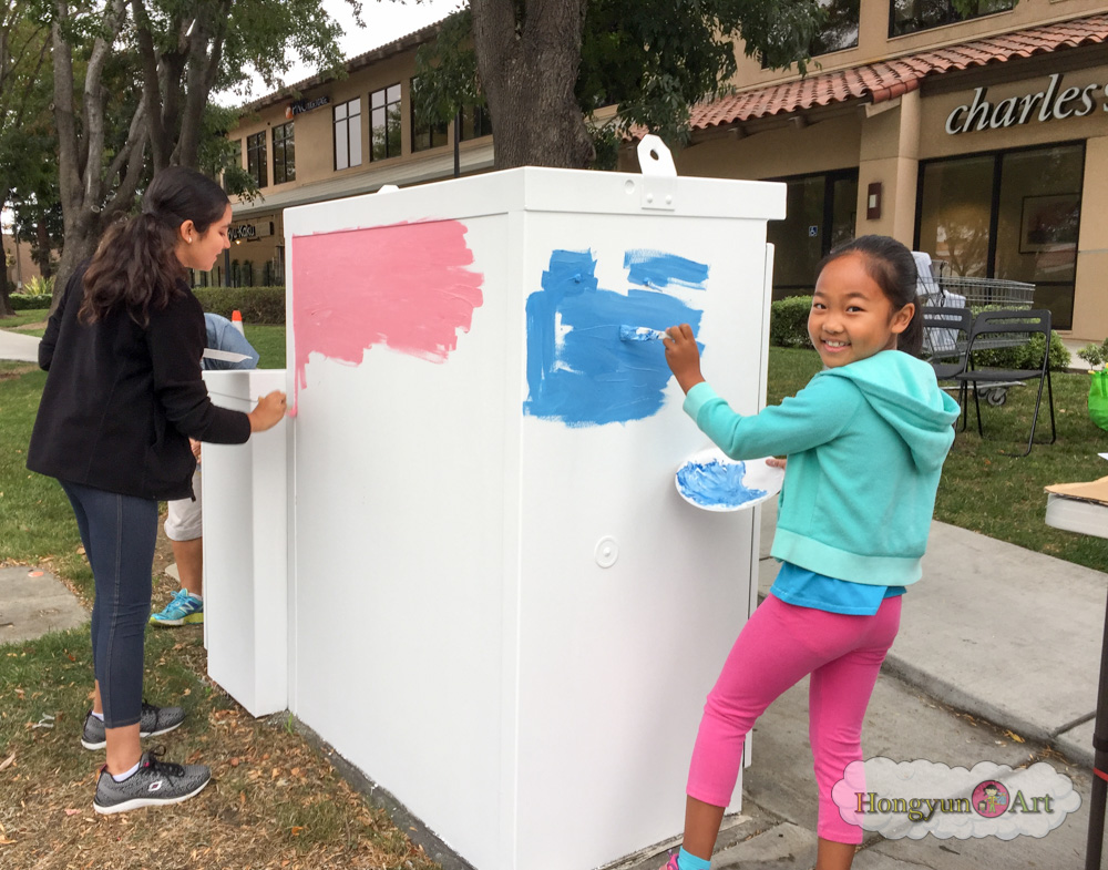 Congratulations to Amy T. (Age 8, Lime Cloud for winning the 2016 Energized by Art Utility Box Art Competition!  Amy won for her design in the K to 2nd grade age category - GREAT JOB! Hongyun Art Red Cloud and Orange Cloud students helped Amy to turn her idea into a great work of art that makes Cupertino more colorful while at the same time raises awareness on how to be more conservation minded.