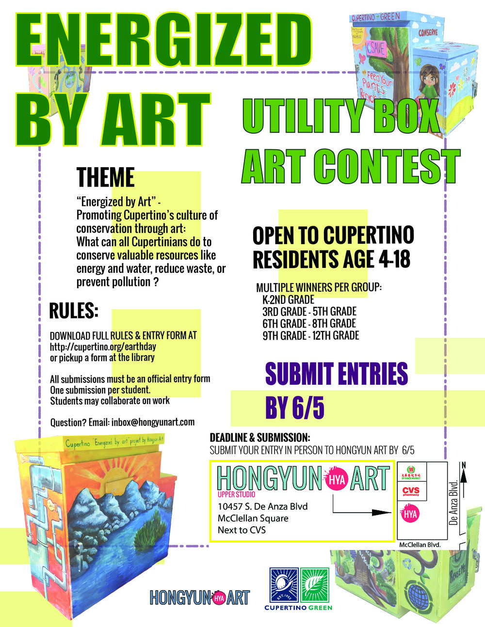 Energized by Art is a project by a partnership between the City of Cupertino and Hongyun Art.  All winner were chosen by the City of Cupertino Fine Arts Commission and Sustainability Coordinators.  The artwork is painted on the utility box by the winning artist with the assistance of Hongyun Art Students and Teachers.