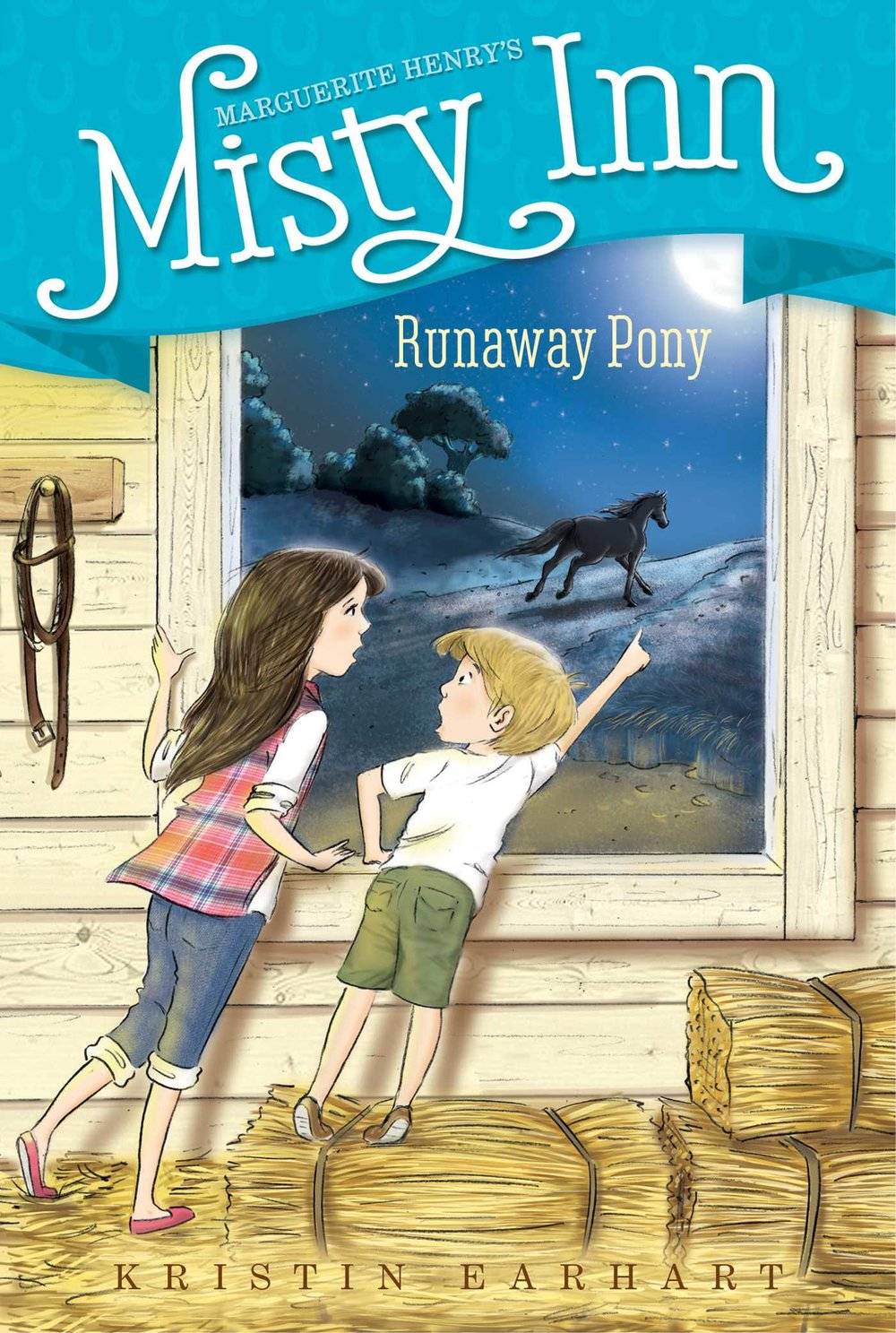 Runaway Pony - A lost pony is cause for a nighttime adventure on Chincoteague Island in this third book of a chapter book series inspired by Marguerite Henry's Misty of Chincoteague.Full Moon Fancy, Fancy for short, is a pony with a knack for getting loose. First she just tramples a herb garden, then she knocks over a wall of a chicken coop, so the hens end up all over the yard and down on the beach. When she gets out one too many times, Willa and Ben are worried she's lost. They set out to track her down—in the moonlight! Will they find the runaway pony, or is Fancy lost for good?