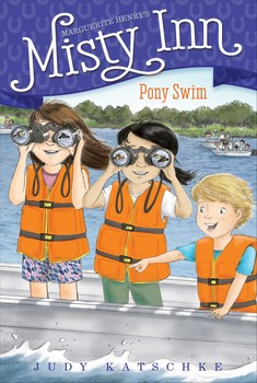 Pony Swim - The Dunlaps prepare to host a respected travel writer during the busiest time of the year in this sixth book of a chapter book series inspired by Marguerite Henry's Misty of Chincoteague.It's the week of the annual pony swim and Willa and Ben are excited! Misty Inn is fully booked for the days leading up to the swim and the auction of the foals, which takes place the following day. As if the island's biggest event isn't exciting enough, the Dunlaps get news that a travel critic/writer will be staying at the inn during that week. The kids are determined to show the special guest just how nice Misty Inn can be, but will they be able to prove it when they don't even know who the critic is?