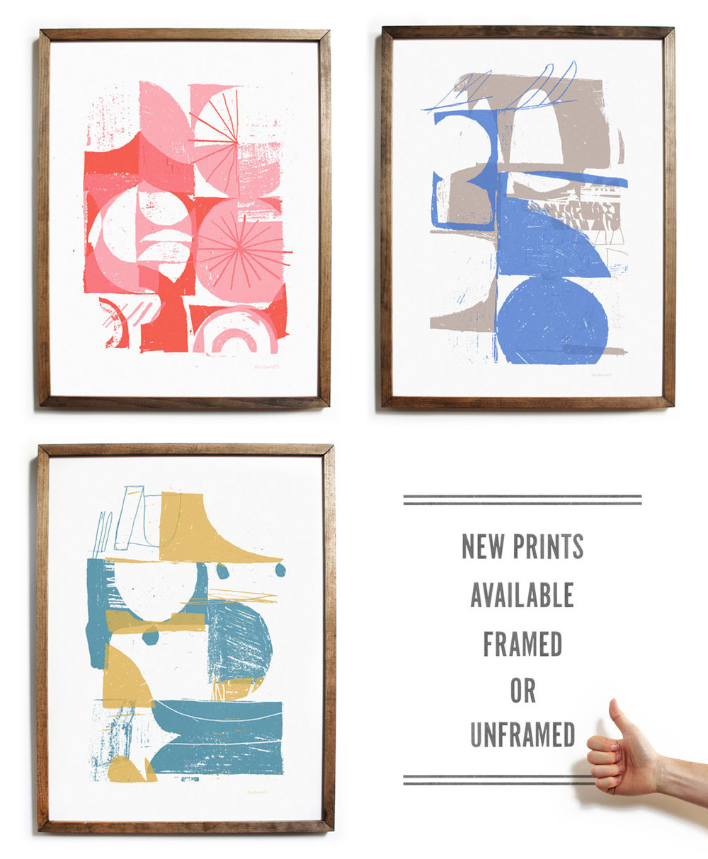 screen printed artwork with wood frames