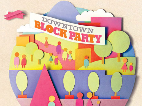 poster design for Tacoma downtown block party