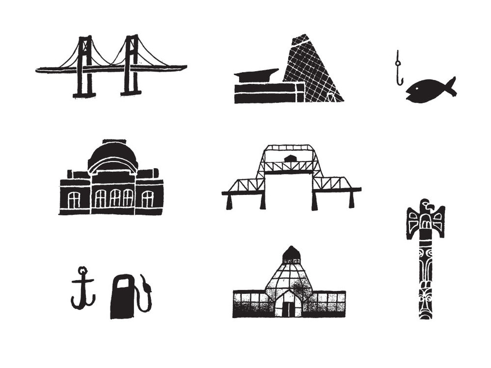 illustration icons for Tacoma Local's Guide map