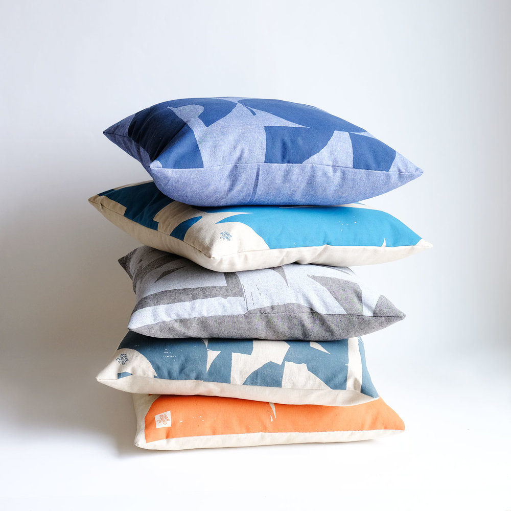 handmade screenprinted organic pillows