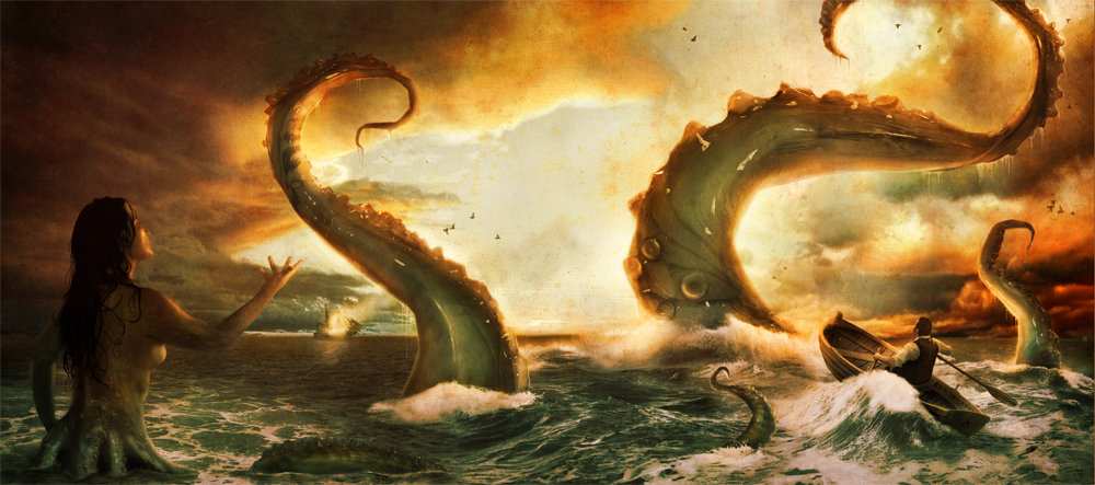 "THE SEA AND THE SERPENTS BENEATH - $375   1 of 1 Giclee Print • 22.5"" x 10"" plus frame • Signed   SOLD!"