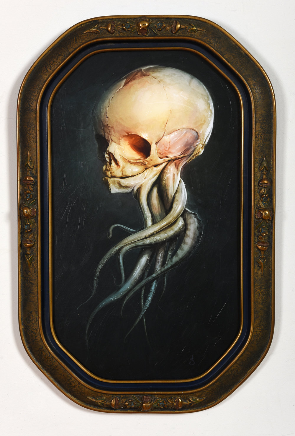 "Homo Marinus - $750   1 OF 1 MOUNTED, VARNISHED, HAND EMBELLISHED & SIGNED GICLEE PRINT • 11"" X 19"" IN ANTIQUE FRAME   SOLD!"