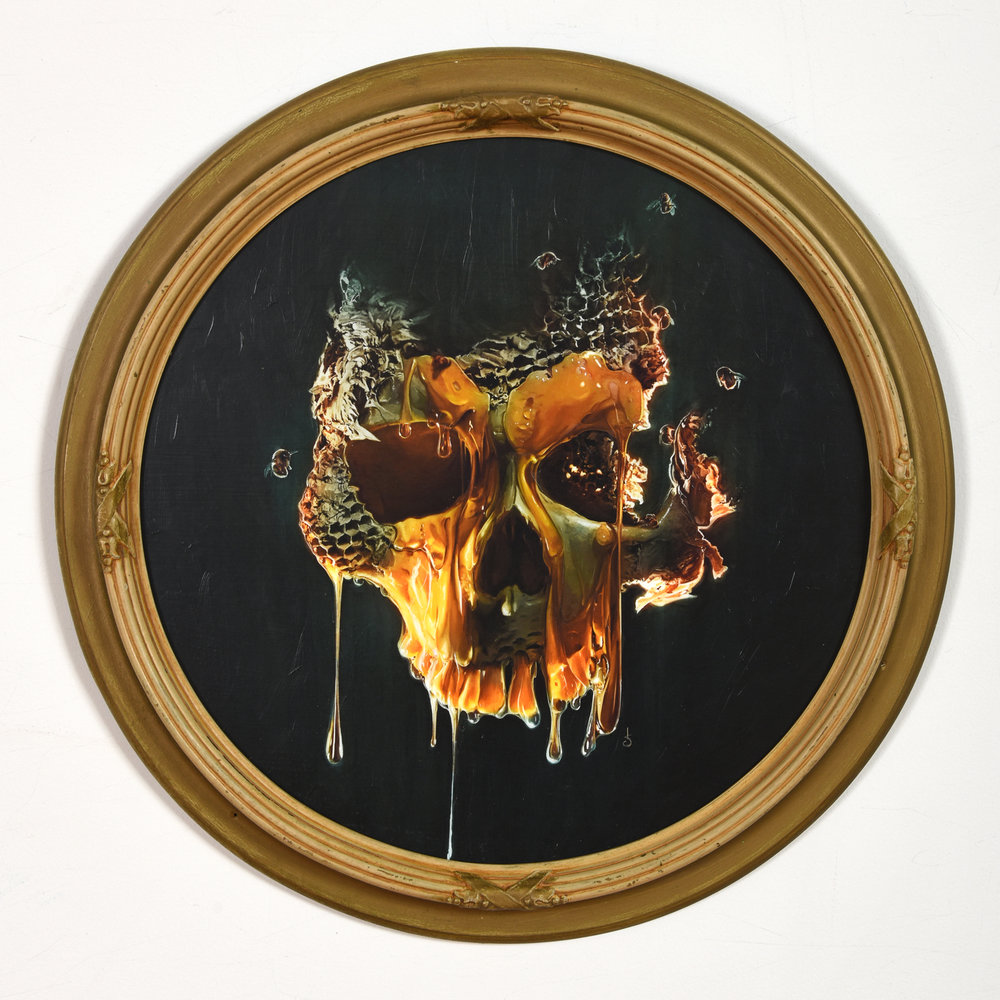 "Sweet Death -  $500   1 OF 1 MOUNTED, VARNISHED, HAND EMBELLISHED & SIGNED GICLEE PRINT •  15"" X 15"" IN ANTIQUE FRAME  AVAILABLE FOR PURCHASE -  EMAIL FOR MORE INFORMATION"