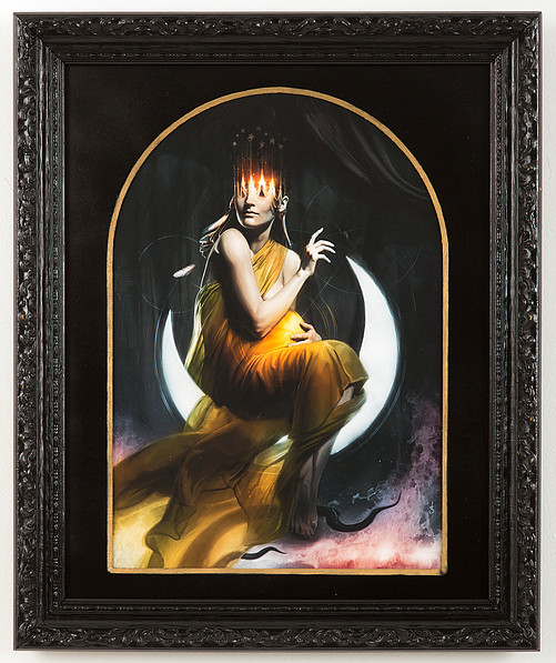 "Woman of the Apocolypse -  $850   1 OF 1 MOUNTED, VARNISHED, HAND EMBELLISHED & SIGNED GICLEE PRINT •   12 x 17"" framed to 16 x 20"" with wooden mat   AVAILABLE FOR PURCHASE -  ARCH ENEMY ARTS"